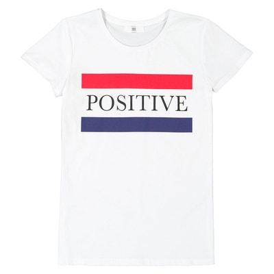 3f28b4fb1750d T-shirt col rond imprimé Positive 10-16 ans T-shirt col rond