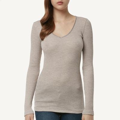 a1a3a307dff T-Shirt en laine et soie avec col en v en satin T-Shirt