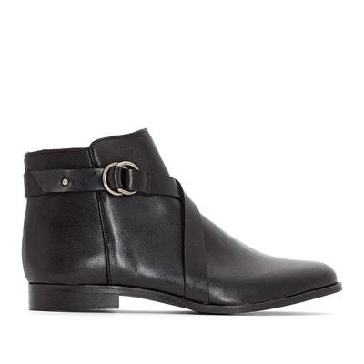 a0f365b6693 Boots en cuir détail boucle pied large 38-45 Boots en cuir détail boucle  pied