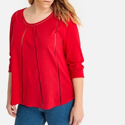 1e174c80d73 Linen Cotton Spoke Stitched T-Shirt CASTALUNA PLUS SIZE