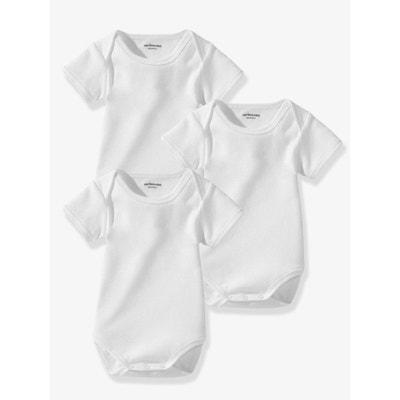 Lot de 3 bodies bébé Bio Collection blancs manches courtes VERTBAUDET 069f7ddea79c