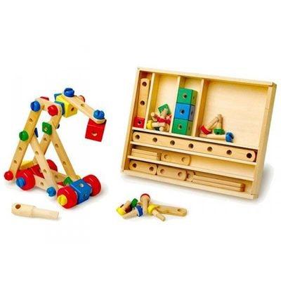 jeu en bois pour enfant de construction mecano 90 pieces