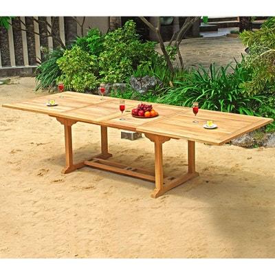 Table de jardin XXL en teck brut - double rallonge papillon 200-300 cm WOOD 1472f0399321