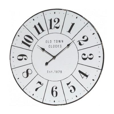 229e5f112cb88 Grande Horloge Murale Ronde Métal Blanc et Noir Effet Email - 83cm WADIGA