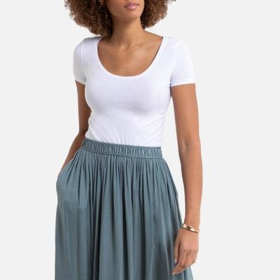 T-shirt, ronde hals en korte mouwen, stretch jersey T-shirt, ronde hals en korte mouwen, stretch jersey LA REDOUTE COLLECTIONS