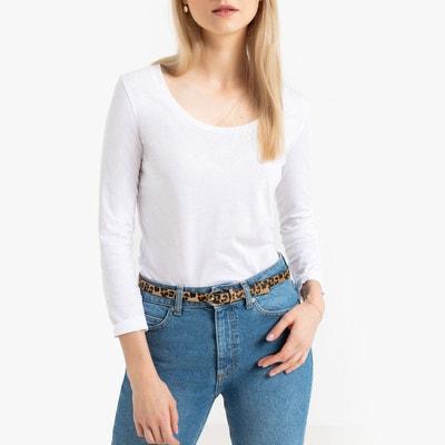 fe93641cf033e T-shirt en coton bio col rond, manches longues T-shirt en coton
