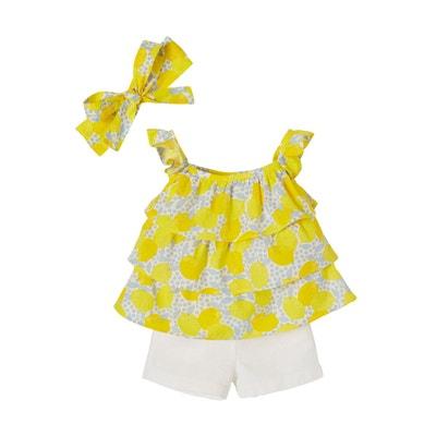 Ensemble bébé fille 3 pièces blouse + short + bandeau VERTBAUDET 0302912f007