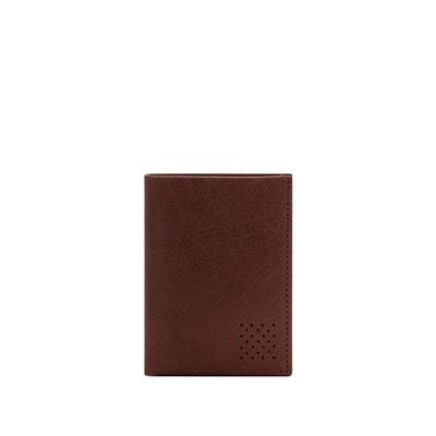 7b9cafb9bf Portefeuille homme cuir véritable buffle vertical à trois volets avec  porte-monnaie, porte-
