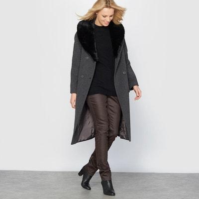 60f516ad32af Manteau en laine mélangée, col imitation fourrure Manteau en laine  mélangée, col imitation fourrure