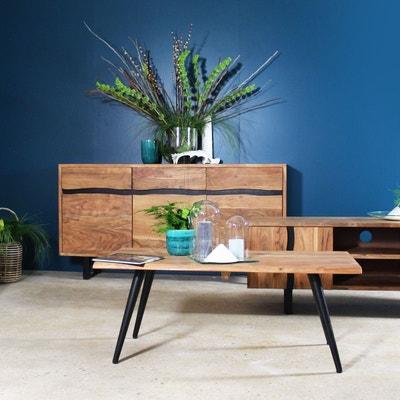 Table basse industrielle style tronc arbre acacia et métal   NE MADE IN  MEUBLES 269d3e428fbd