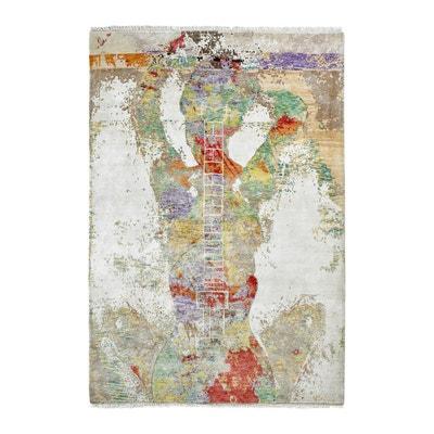 a3c76f91543a Tapis moderne noué main en laine, viscose et bambou multicolore Breeze  DELADECO