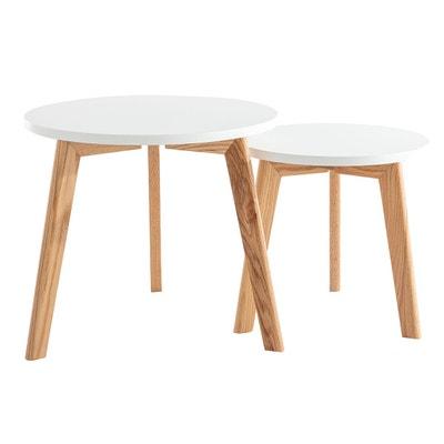 LIFA LIVING Table Basse Design Bois en Lot de 2 Petite Table Basse Gigogne Scandinave 2 Ensemble de Tables Basses Gigognes Bois et M/étal Ronde Tables dAppoint pour Salon