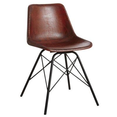 9c315f6fa6bfc Chaise en cuir marron et métal Chaise en cuir marron et métal AUBRY GASPARD.  «