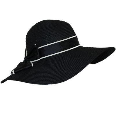 6c8f379550 Chapeau capeline paille noir CHAPEAU-TENDANCE