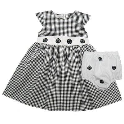 4c597b9790 Vêtement bébé: Robe fille et bloomer 12 mois, vichy noir et blanc POUSSIN  BLEU
