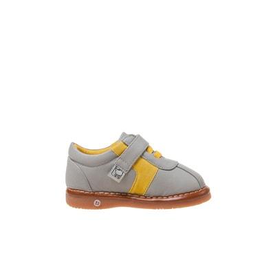 e67dd02ac86f1 Chaussures semelle souple Baskets gris et jaune LITTLE BLUE LAMB