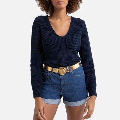 Pull coton bleu marine femme | La Redoute
