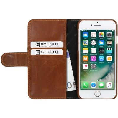 Etui iPhone 8   iPhone 7 Porte-cartes Cognac en cuir véritable - Stilgut  STILGUT 370b6a78374
