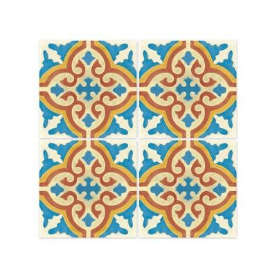 Stickers Pour Carrelage De Salle De Bain Ou Cuisine Rimal Bleu/Rouge Stickers  Pour Carrelage