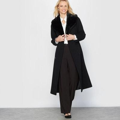 Manteau long femme col fourrure
