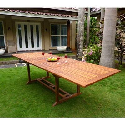 Table de jardin XXL en teck huilé - double rallonge papillon 200-300 cm  Table b0c99fb00542