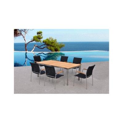 X6 Chaises Table MELBOURNE Resine Et Teck