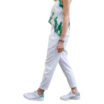 aa1865c8879 Pantalon chic pour Femme décontractée en lin et coton Chic et élégant  Pantalon chic pour Femme