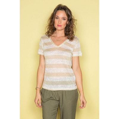 342880eaba7ae T-shirt rayé avec Fil textile à manche courtes ADELE DEELUXE
