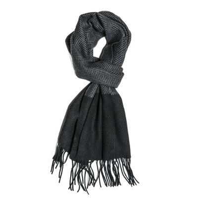 Echarpe laine chevron bicolore grise CARNET DE VOL 136583aadfd