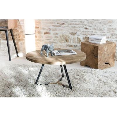 50ff05d106480 Table basse ronde en Teck recyclé et pieds métal noir et bois D75xH41cm  SWING Table basse. PIER IMPORT