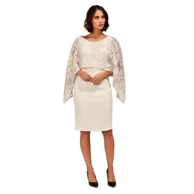 c26bf7445f4 Tessy robe fourreau capeline dentelle DOUCEL