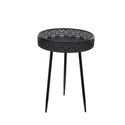 4cd52f3c1b6c63 Bout de canapé métal noir motifs ajourés petit modèle PIER IMPORT