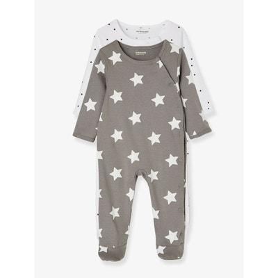 9a7923e645157 Lot de 2 pyjamas bébé coton pressionné devant Lot de 2 pyjamas bébé coton  pressionné devant