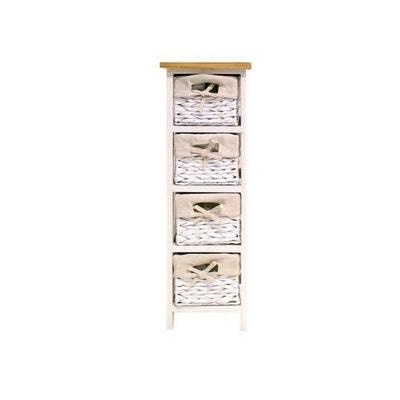Parfait Petit Rangement De Salle De Bain Laqué Blanc Brillant Et Bois 24cm Venezia  PHILIPS