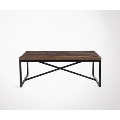 0d308647c728f Grande table basse rustique métal bois TRUST - 120 cm MEUBLES   DESIGN
