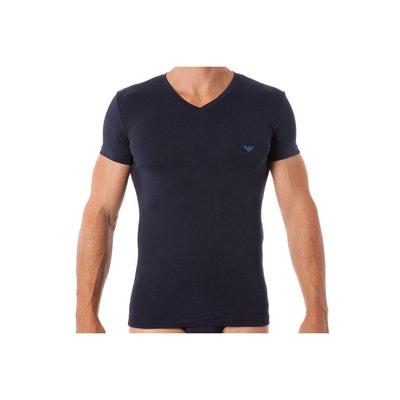 Tee-shirt col V en coton stretch marine floqué du logo en turquoise sur l.  Soldes. EMPORIO ARMANI 536401ba80b