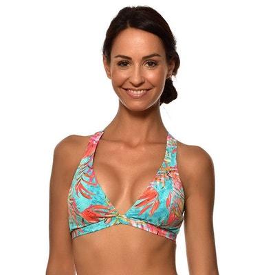 27f56c2b098 Haut de maillot de bain triangle imprime palmiers rose fond PHOEBE AZZURA  Bonnet C LIVIA