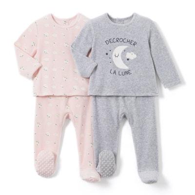Set van 2 fluwelen 2-delige pyjama's, 0 mnd-3 jaar Set van 2 fluwelen 2-delige pyjama's, 0 mnd-3 jaar LA REDOUTE COLLECTIONS