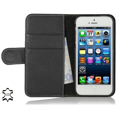 cd342704f6f4 Etui iPhone SE   5S   5 portefeuille Talis cuir véritable noir - Stilgut Etui  iPhone