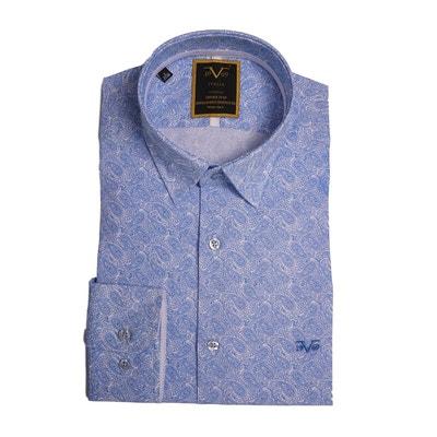 Chemise Homme Blanche imprimé cashmere bleu ciel avec sa pochette cadeau  VERSACE 19.69 311333e6d1c