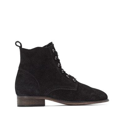18f74fc667788 Boots cuir à lacets effet perforé Boots cuir à lacets effet perforé LA  REDOUTE COLLECTIONS