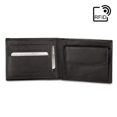d766ce72732 DV Portefeuille pour homme RFID classique en Cuir Véritable Nappa avec  Porte-monnaie et fentes