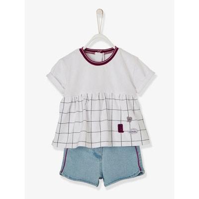 Ensemble T-shirt et short en jean bébé fille VERTBAUDET dd6e30182c7