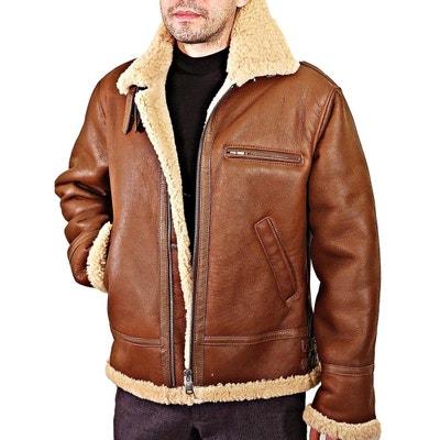 veste en cuir de mouton homme cognac