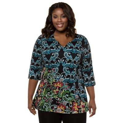 95548e756393f T-shirt col rond imprimé fleuri en coton T-shirt col rond imprimé fleuri