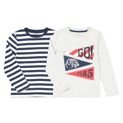 2a0fb14d2bd2e Lot de 2 t-shirts manches longues 3-12 ans LA REDOUTE COLLECTIONS