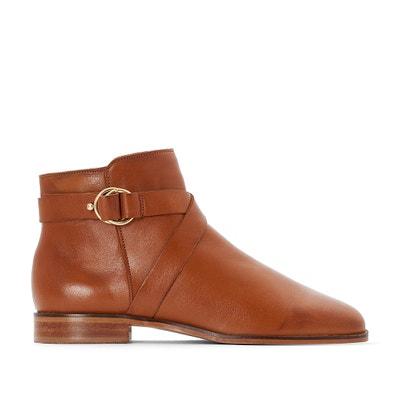 6fef8b995b32d7 Boots en cuir détail boucle pied large 38-45 Boots en cuir détail boucle  pied