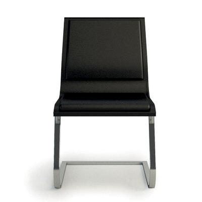 73958c3cb88b0 Chaise visiteur cuir noir HOWIE pied luge en aluminium chromé SEANROYALE