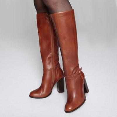 Leren laarzen met hoge hak en enkelbandje Leren laarzen met hoge hak en enkelbandje LA REDOUTE COLLECTIONS