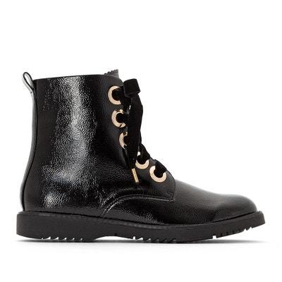 Gelakte Boots met veters, goudkleurige oogjes, brede voet Gelakte Boots met veters, goudkleurige oogjes, brede voet LA REDOUTE COLLECTIONS PLUS